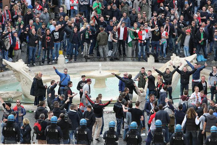 Feyenoord's supporters in Rome