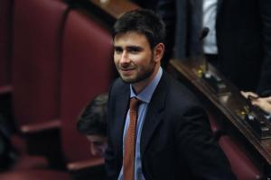 15/03/2013 Roma, prima seduta della XVII Legislatura alla Camera dei Deputati. Nella foto Alessandro Di Battista