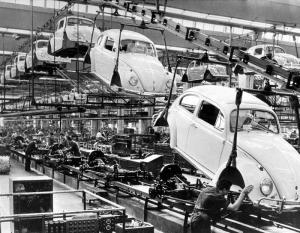 Picture dated 1966 of the assembly line of the Volkswagen beetle plant in Wolfsburg, Germany. ANSA