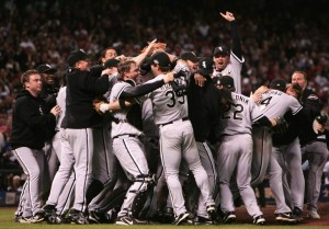 HOUSTON - OCTOBER 26:  The Chicago White Sox celebrate after winning Game Four of the 2005 Major League Baseball World Series against the Houston Astros at Minute Maid Park on October 26, 2005 in Houston, Texas. The Chicago White Sox defeated the Houston Astros 1-0 to win the World Series 4 games to 0.  (Photo by Jed Jacobsohn/Getty Images)